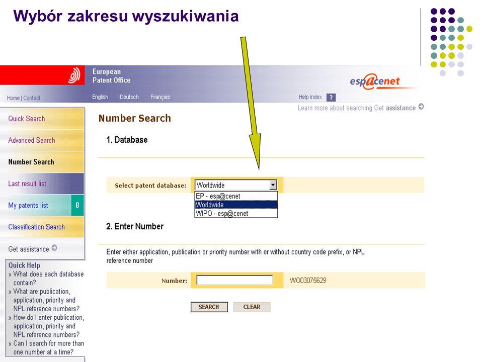 Wybór zakresu wyszukiwania