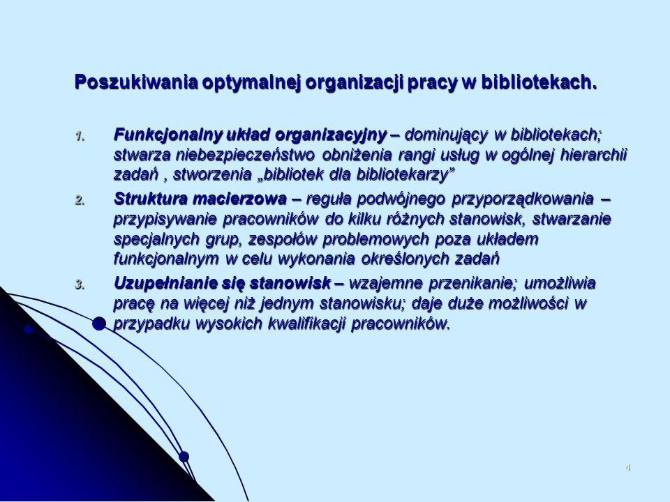 4 Poszukiwania optymalnej organizacji pracy w bibliotekach. 1. Funkcjonalny układ organizacyjny – dominujący w bibliotekach; stwarza niebezpieczeństwo