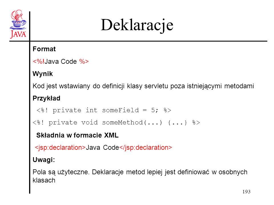 193 Deklaracje Format Wynik Kod jest wstawiany do definicji klasy servletu poza istniejącymi metodami Przykład Składnia w formacie XML Java Code Uwagi