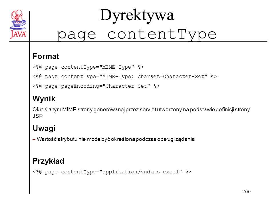 200 Dyrektywa page contentType Format Wynik Określa tym MIME strony generowanej przez servlet utworzony na podstawie definicji strony JSP Uwagi – Wartość atrybutu nie może być określona podczas obsługi żądania Przykład