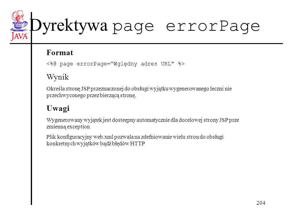 204 Dyrektywa page errorPage Format Wynik Określa stronę JSP przeznaczonej do obsługi wyjątku wygenerowanego leczni nie przechwyconego przez bierzącą stronę.