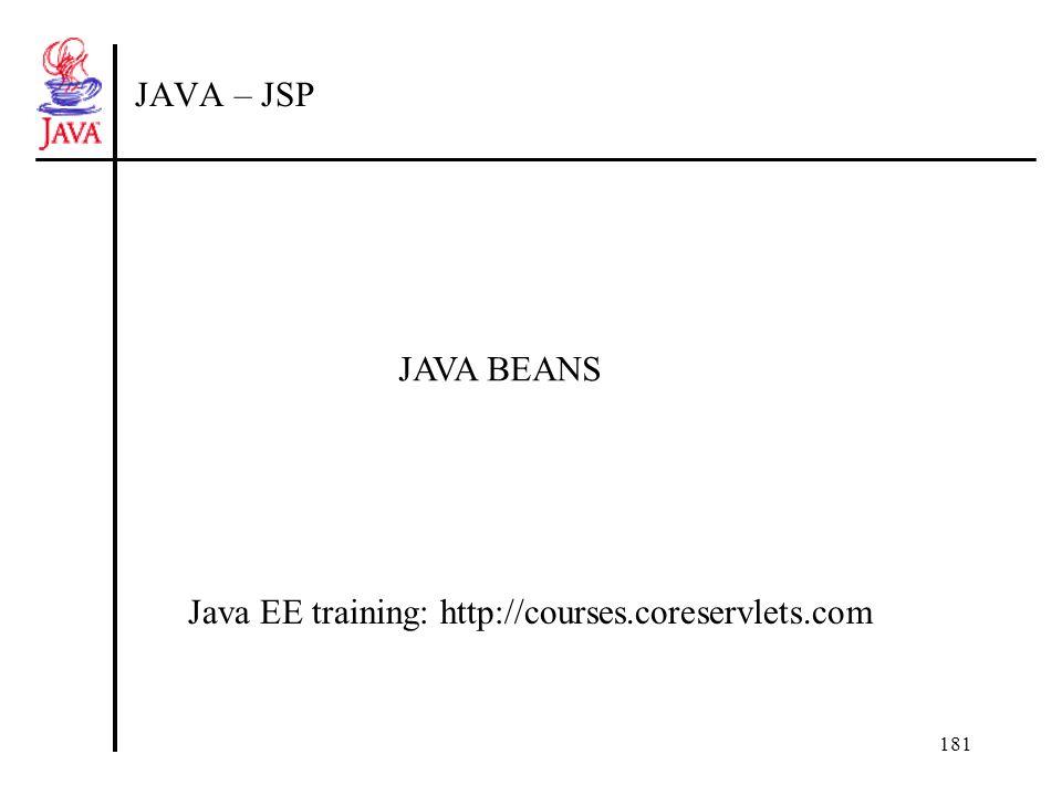 182 Java Beans Muszą posiadać konstruktor domyślny Dostęp do prywatnych pól składowych jest realizowany przez funkcje: getNAZWAPOLA setNAZWAPOLA (oznacza to zdefiniowanie właściwości-property w klasie) Pola typu logicznego są wykorzystują funkcję isNAZWAPOLA Muszą być umieszczane w pakietach