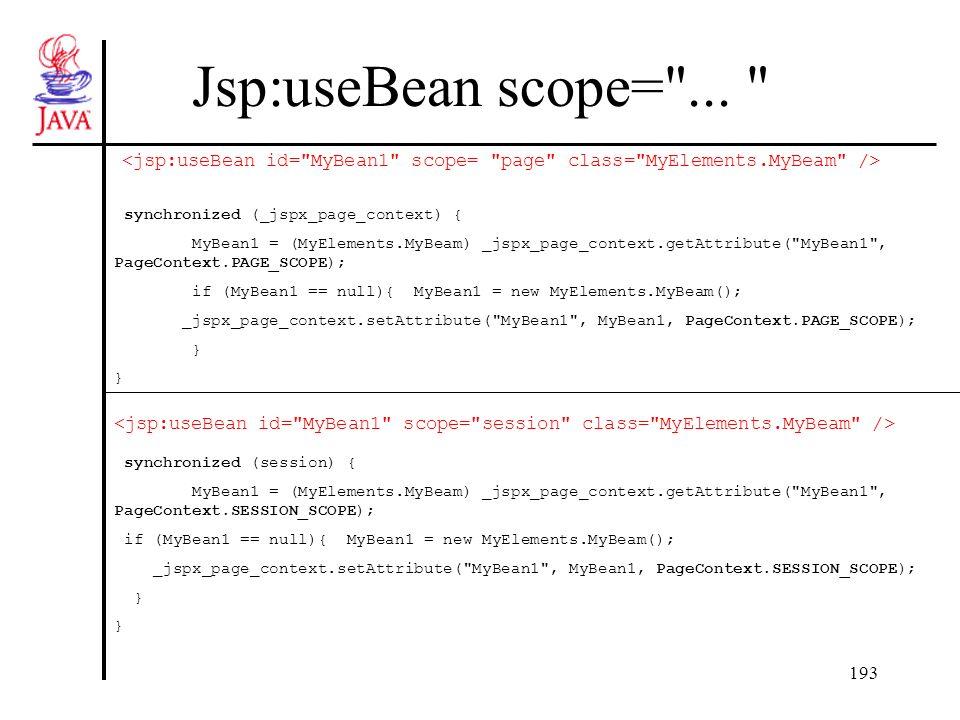 193 Jsp:useBean scope=