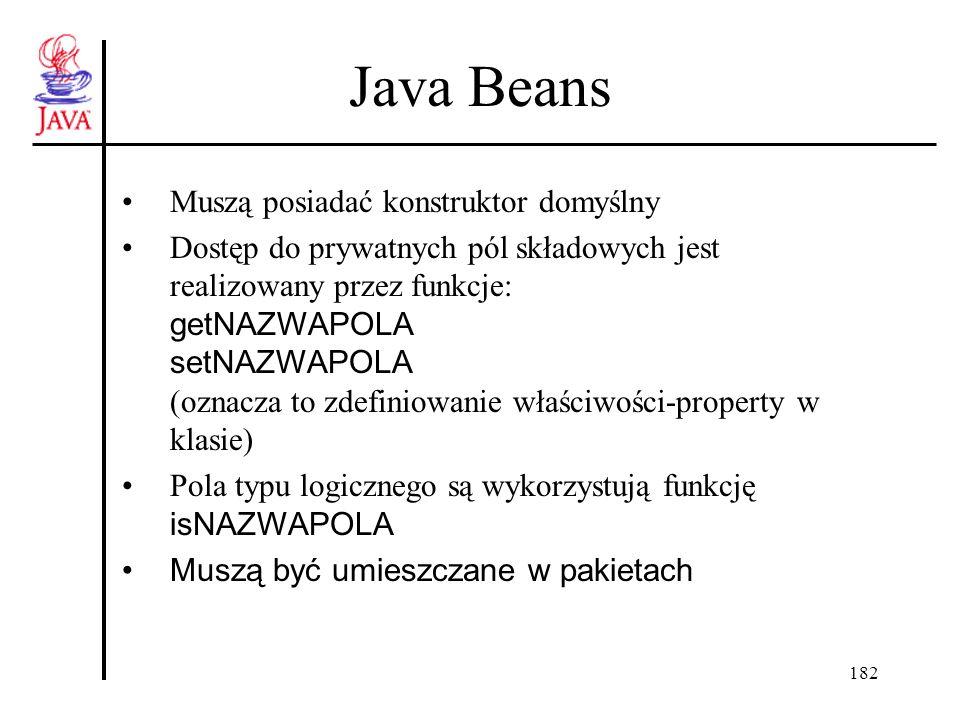 182 Java Beans Muszą posiadać konstruktor domyślny Dostęp do prywatnych pól składowych jest realizowany przez funkcje: getNAZWAPOLA setNAZWAPOLA (ozna