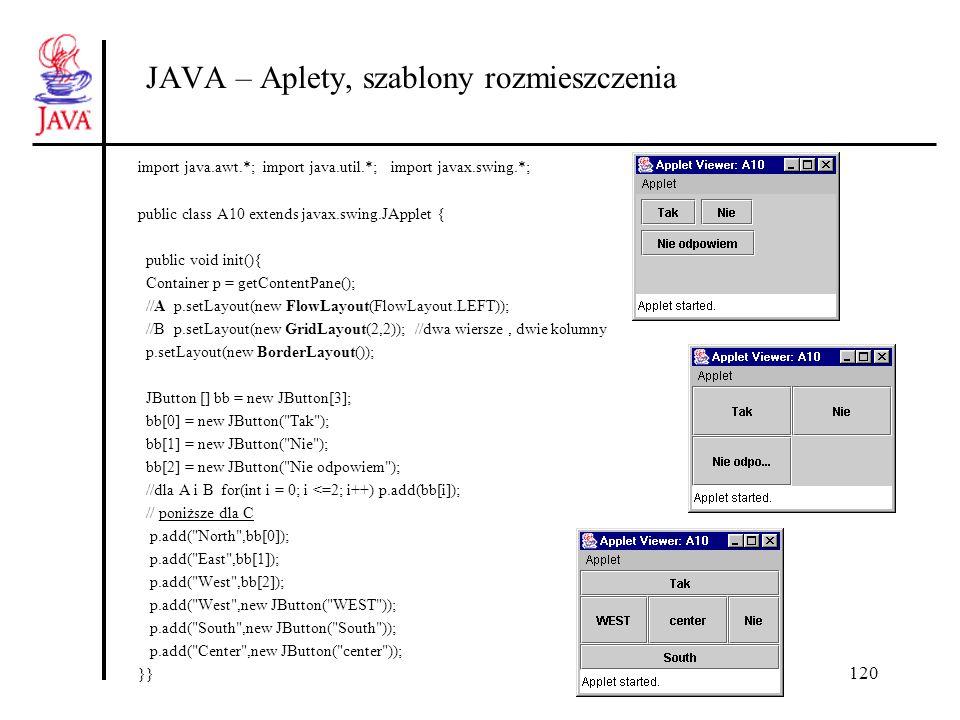 120 JAVA – Aplety, szablony rozmieszczenia import java.awt.*; import java.util.*; import javax.swing.*; public class A10 extends javax.swing.JApplet {