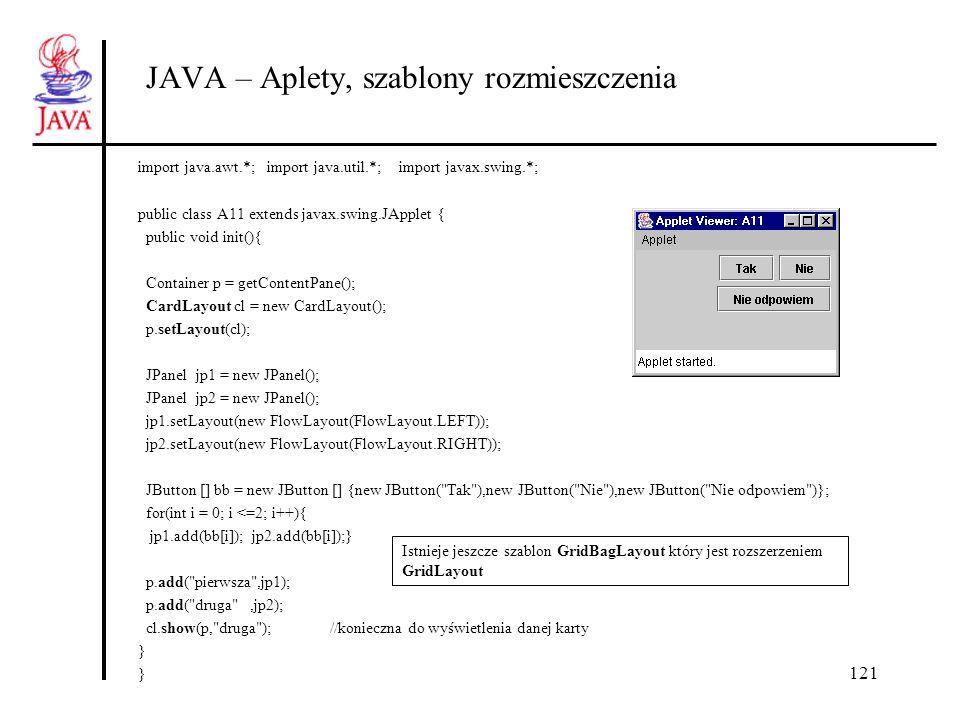 121 JAVA – Aplety, szablony rozmieszczenia import java.awt.*; import java.util.*; import javax.swing.*; public class A11 extends javax.swing.JApplet {
