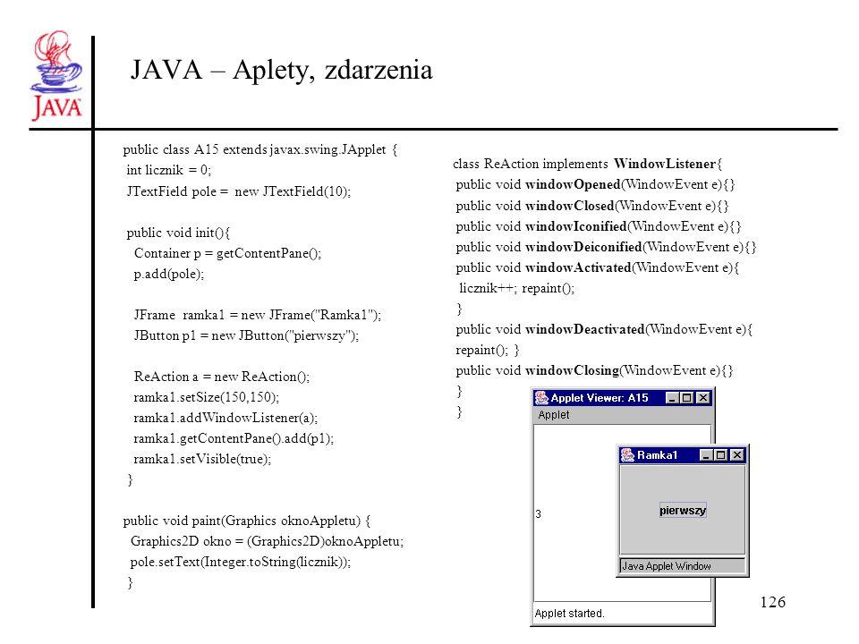 126 JAVA – Aplety, zdarzenia public class A15 extends javax.swing.JApplet { int licznik = 0; JTextField pole = new JTextField(10); public void init(){
