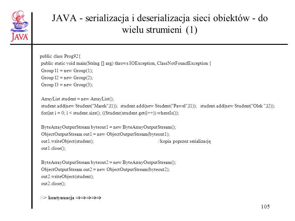106 JAVA - serializacja i deserializacja sieci obiektów - do wielu strumieni (2) System.out.println( \npo odczycie ze strumienia 1 : ); ByteArrayInputStream byteinp1 = new ByteArrayInputStream(byteout1.toByteArray()); ObjectInputStream inp1 = new ObjectInputStream(byteinp1); ArrayList student1 = (ArrayList)inp1.readObject(); for(int i = 0; i < student1.size(); ((Student)student1.get(i++)).whereIs()); inp1.close(); System.out.println( \npo odczycie ze strumienia 2 : ); ByteArrayInputStream byteinp2 = new ByteArrayInputStream(byteout2.toByteArray()); ObjectInputStream inp2 = new ObjectInputStream(byteinp2); ArrayList student2 = (ArrayList)inp2.readObject(); for(int i = 0; i < student2.size(); ((Student)student2.get(i++)).whereIs()); inp2.close(); } } //Prog92 Deserializując obiekty z różnych strumieni system nie jest w stanie stwierdzić identyczności tych obiektów