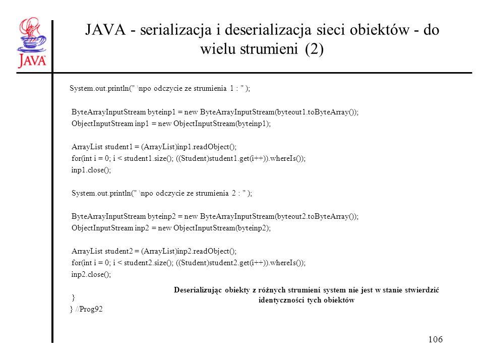 127 JAVA – biblioteka net, identyfikacja import java.awt.*; import java.awt.event.*; import javax.swing.*; import java.net.*; public class Pn1 { private static JFrame ramka = new JFrame( Ramka ); private static JButton ident = new JButton( Wywolaj identyfikacje ); private static JTextField adrIP = new JTextField(30); public static void main(String [] arg){ class Reaction implements ActionListener{ public void actionPerformed(ActionEvent e){ if (e.getSource() instanceof JButton) { try { InetAddress adres = InetAddress.getByName( skrzat ); //skrzat to nazwa mojego lapt adrIP.setText(adres.toString()); } catch (Exception E) {} } } }//wewnętrzna ramka.setDefaultCloseOperation(JFrame.EXIT_ON_CLOSE); ramka.getContentPane().setLayout(new FlowLayout()); ramka.getContentPane().add(ident); ramka.getContentPane().add(adrIP); ramka.setSize(500,100); ramka.setVisible(true); ident.addActionListener(new Reaction()); } } Inne sposoby pozyskania lokalnego adresu IP: InetAddress.getByName(null); InetAddress.getByName ( localhost ); InetAddress.getByName ( 127.0.0.1 );