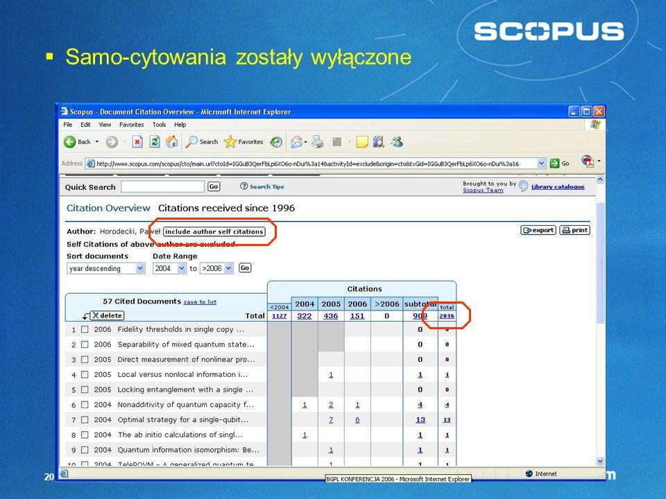 19 Citation Tracker – przegląd cytowań Teraz możemy wyłączyć samo-cytowania