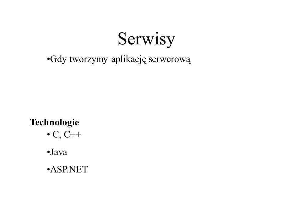 Serwisy Technologie Gdy tworzymy aplikację serwerową C, C++ Java ASP.NET