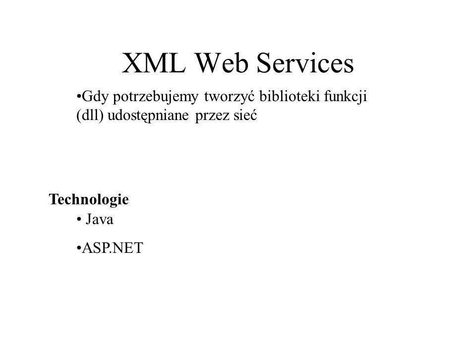 XML Web Services Gdy potrzebujemy tworzyć biblioteki funkcji (dll) udostępniane przez sieć Java ASP.NET Technologie