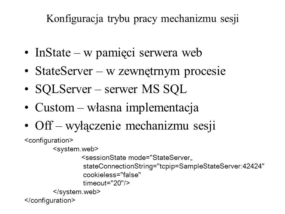 Konfiguracja trybu pracy mechanizmu sesji InState – w pamięci serwera web StateServer – w zewnętrnym procesie SQLServer – serwer MS SQL Custom – własn