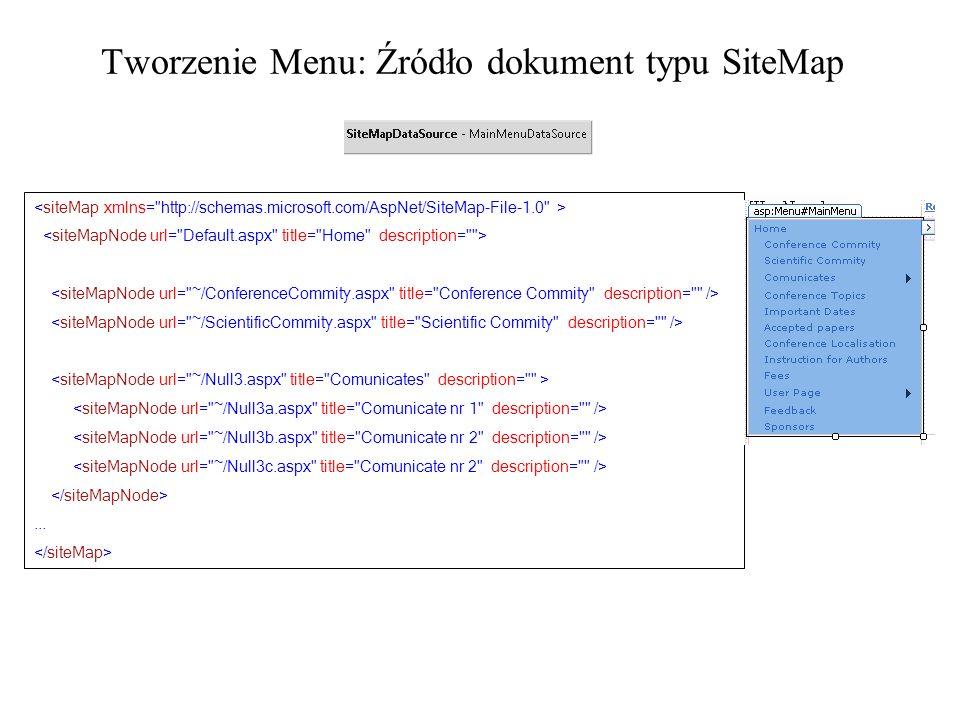 Tworzenie Menu: Źródło dokument typu SiteMap...