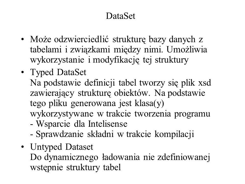 DataSet Może odzwierciedlić strukturę bazy danych z tabelami i związkami między nimi. Umożliwia wykorzystanie i modyfikację tej struktury Typed DataSe