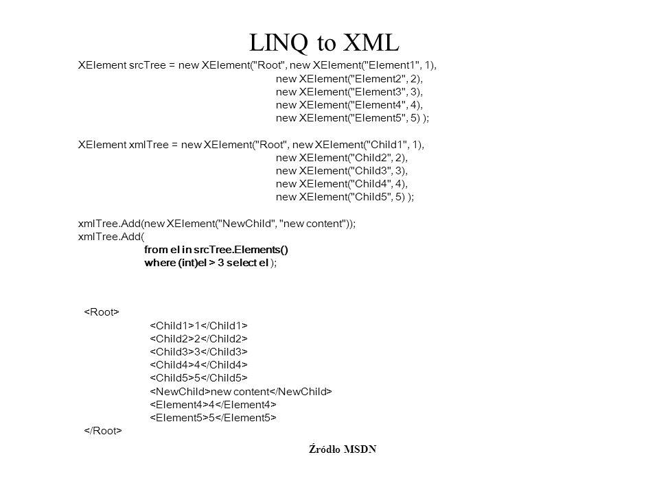 LINQ to XML Źródło MSDN XElement srcTree = new XElement(