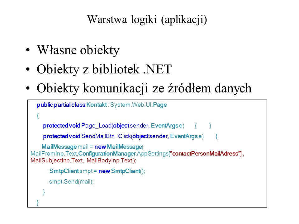 Warstwa logiki (aplikacji) Własne obiekty Obiekty z bibliotek.NET Obiekty komunikacji ze źródłem danych public partial class Kontakt : System.Web.UI.P