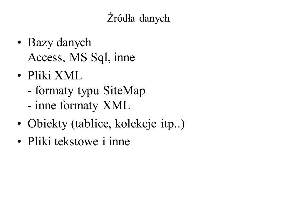 Źródła danych Bazy danych Access, MS Sql, inne Pliki XML - formaty typu SiteMap - inne formaty XML Obiekty (tablice, kolekcje itp..) Pliki tekstowe i