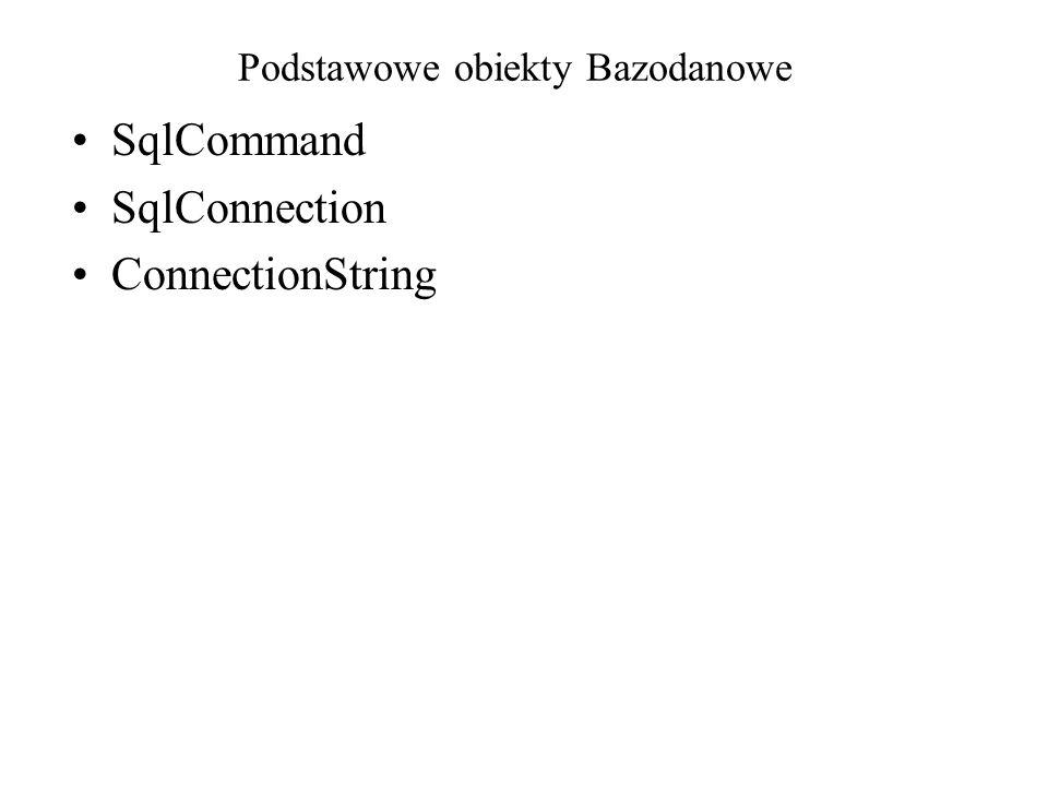 Podstawowe obiekty Bazodanowe SqlCommand SqlConnection ConnectionString