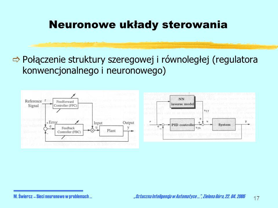 17 Neuronowe układy sterowania Połączenie struktury szeregowej i równoległej (regulatora konwencjonalnego i neuronowego) M. Świercz – Sieci neuronowe