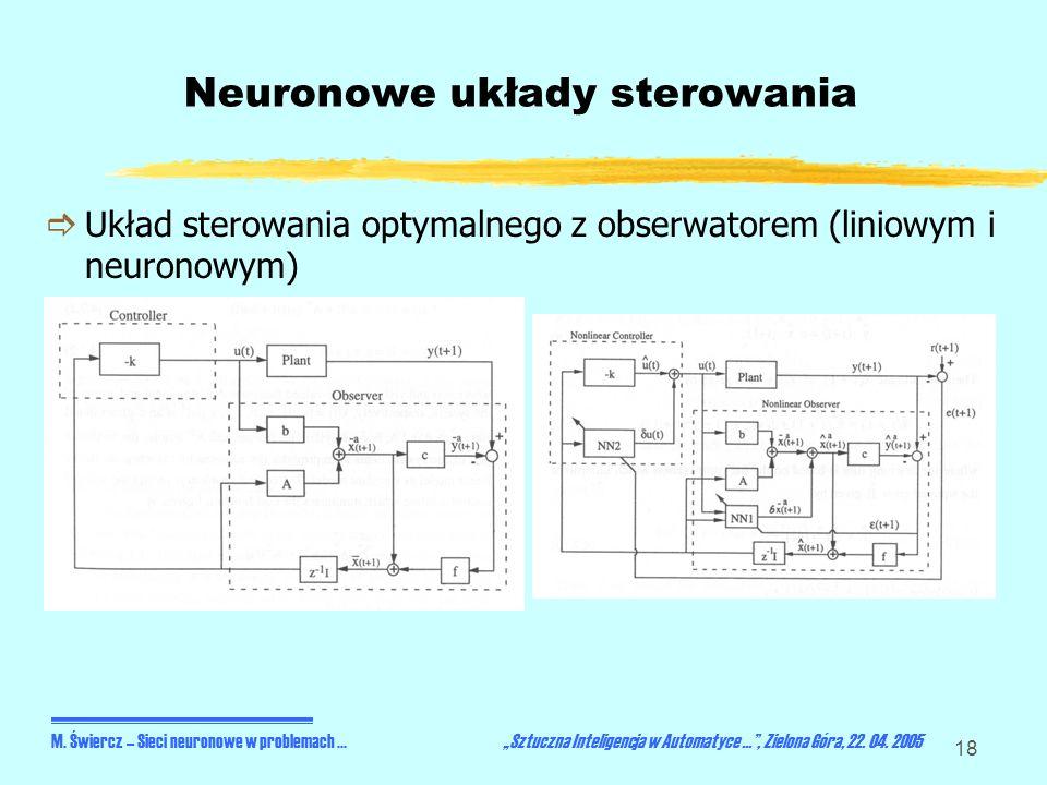 18 Neuronowe układy sterowania Układ sterowania optymalnego z obserwatorem (liniowym i neuronowym) M. Świercz – Sieci neuronowe w problemach... Sztucz