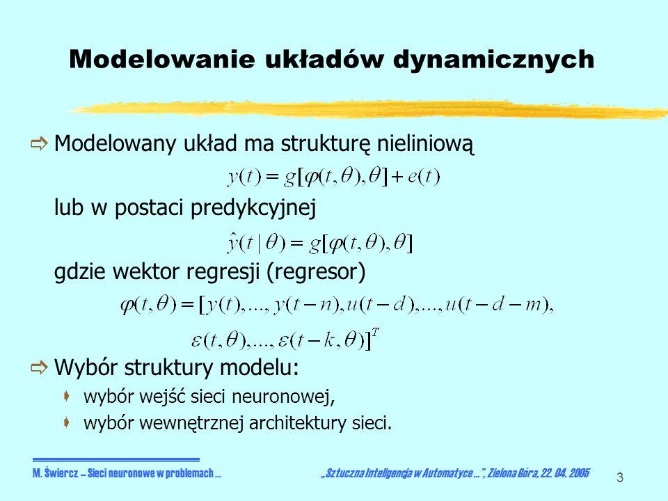 3 Modelowanie układów dynamicznych Modelowany układ ma strukturę nieliniową lub w postaci predykcyjnej gdzie wektor regresji (regresor) Wybór struktur