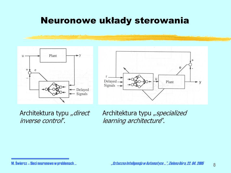 19 Podsumowanie Stosowalność konkretnych układów sterowania neuronowego jest głownie zależna od: Rodzaju nieliniowości charakterystyki układu (łagodna/niegładka), Znajomości (nieznajomości) trajektorii zadanej, Charakteru (mocy) zakłóceń, Dynamiki sterowanego układu (szybka/wolna), Istnienia i wielkości opóźnień w torze sterowania, Zapasu stabilności w sterowanym układzie.