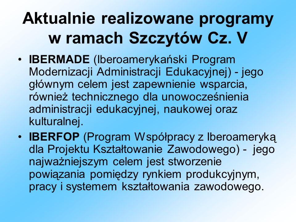 Aktualnie realizowane programy w ramach Szczytów Cz. V IBERMADE (Iberoamerykański Program Modernizacji Administracji Edukacyjnej) - jego głównym celem