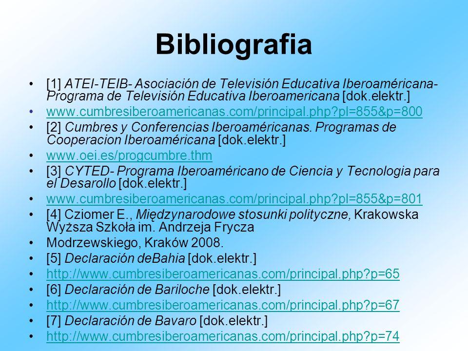 Bibliografia [1] ATEI-TEIB- Asociación de Televisión Educativa Iberoaméricana- Programa de Televisión Educativa Iberoamericana [dok.elektr.] www.cumbr