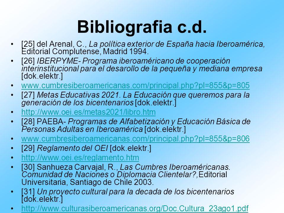 Bibliografia c.d. [25] del Arenal, C., La política exterior de España hacia Iberoamérica, Editorial Complutense, Madrid 1994. [26] IBERPYME- Programa