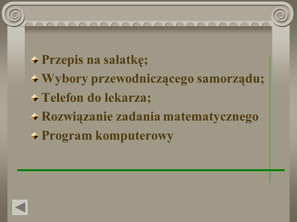 Przepis na sałatkę; Wybory przewodniczącego samorządu; Telefon do lekarza; Rozwiązanie zadania matematycznego Program komputerowy