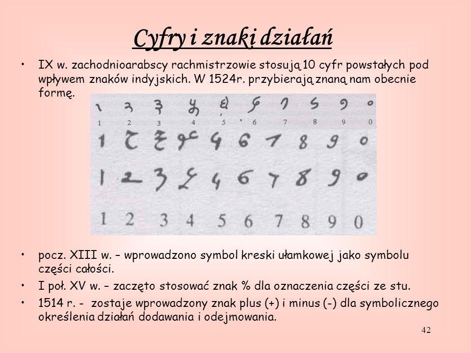 42 IX w.zachodnioarabscy rachmistrzowie stosują 10 cyfr powstałych pod wpływem znaków indyjskich.