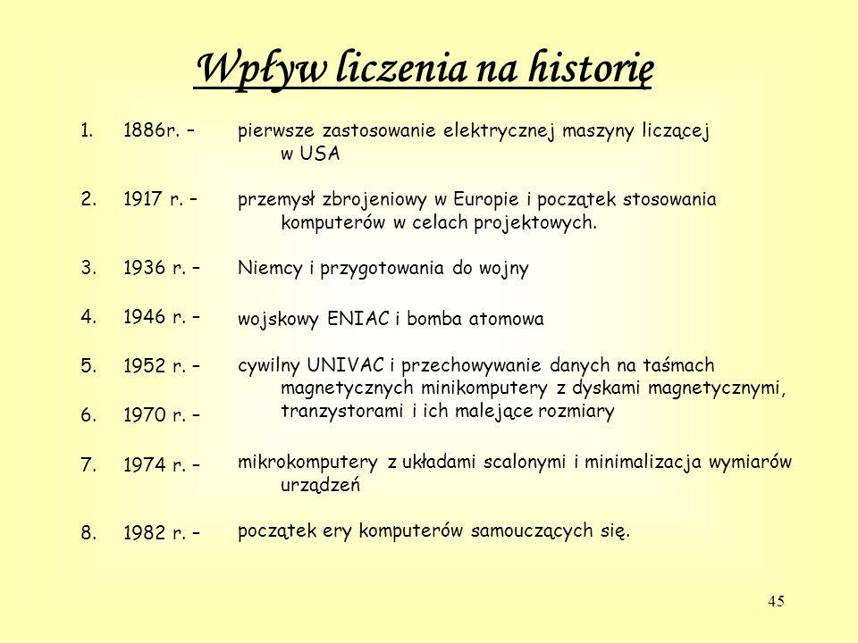 45 Wpływ liczenia na historię 1.1886r.– 2.1917 r.
