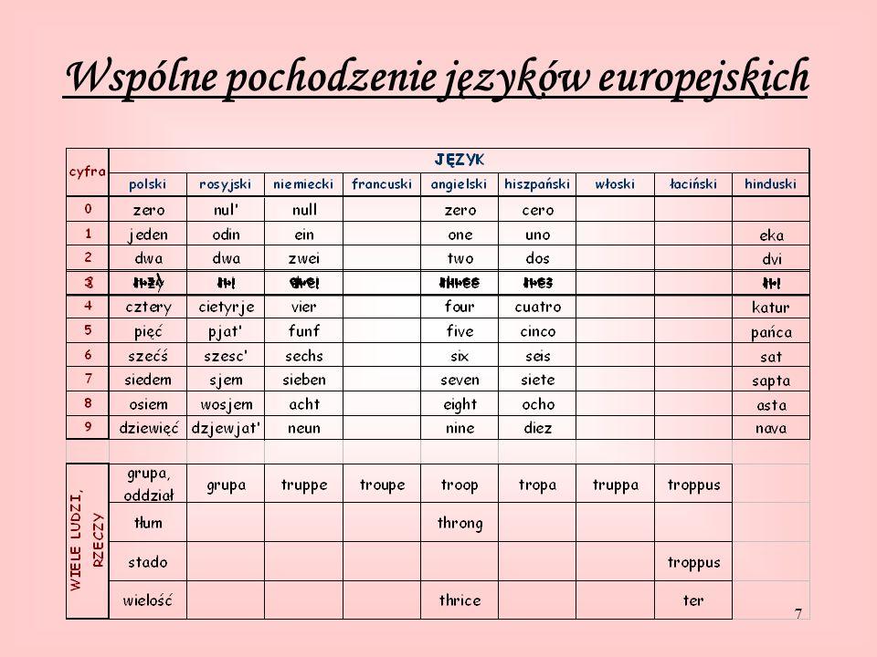 7 Wspólne pochodzenie języków europejskich