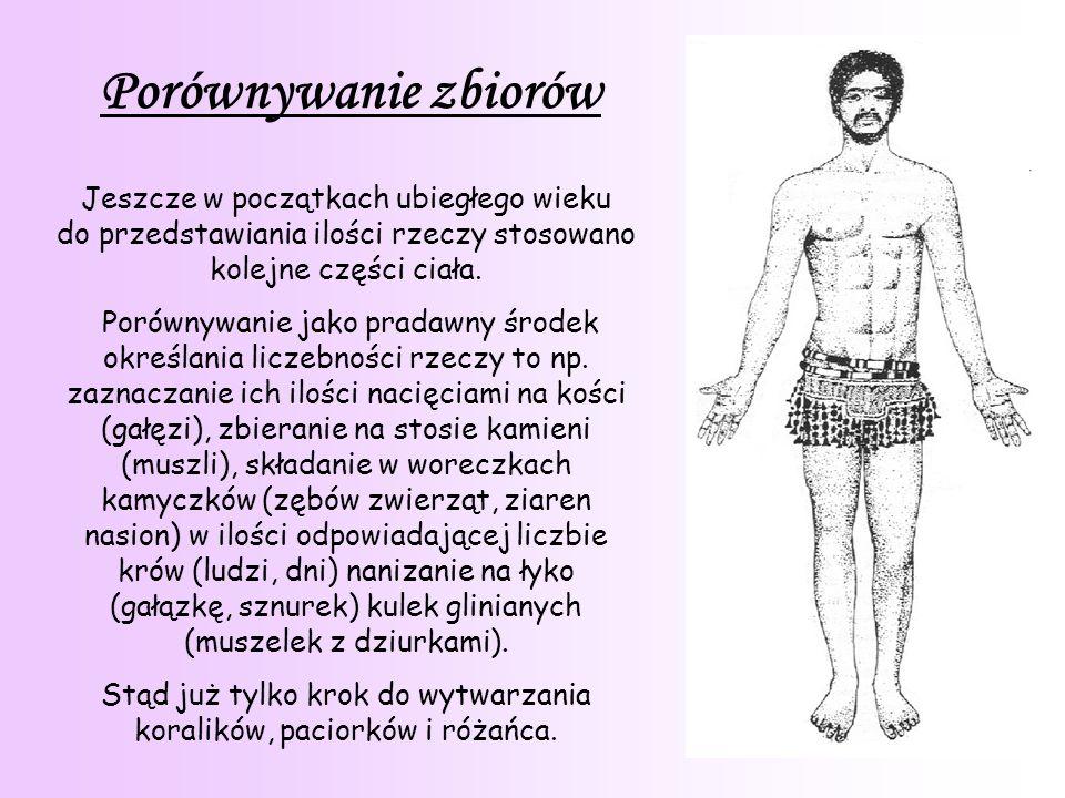 9 Porównywanie zbiorów Jeszcze w początkach ubiegłego wieku do przedstawiania ilości rzeczy stosowano kolejne części ciała.