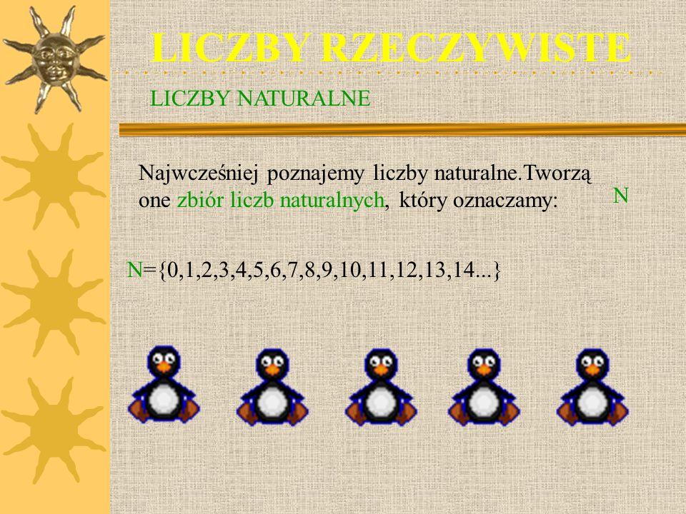 LICZBY RZECZYWISTE Najwcześniej poznajemy liczby naturalne.Tworzą one zbiór liczb naturalnych, który oznaczamy: N N={0,1,2,3,4,5,6,7,8,9,10,11,12,13,14...} LICZBY NATURALNE
