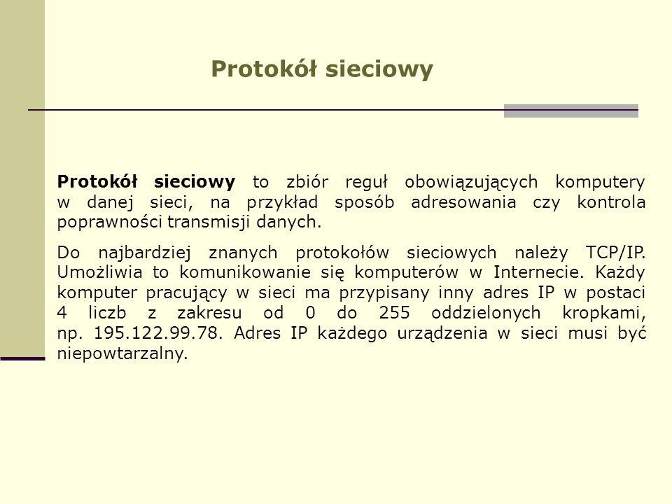 Protokół sieciowy Protokół sieciowy to zbiór reguł obowiązujących komputery w danej sieci, na przykład sposób adresowania czy kontrola poprawności tra