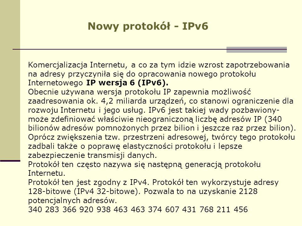 Nowy protokół - IPv6 Komercjalizacja Internetu, a co za tym idzie wzrost zapotrzebowania na adresy przyczyniła się do opracowania nowego protokołu Int