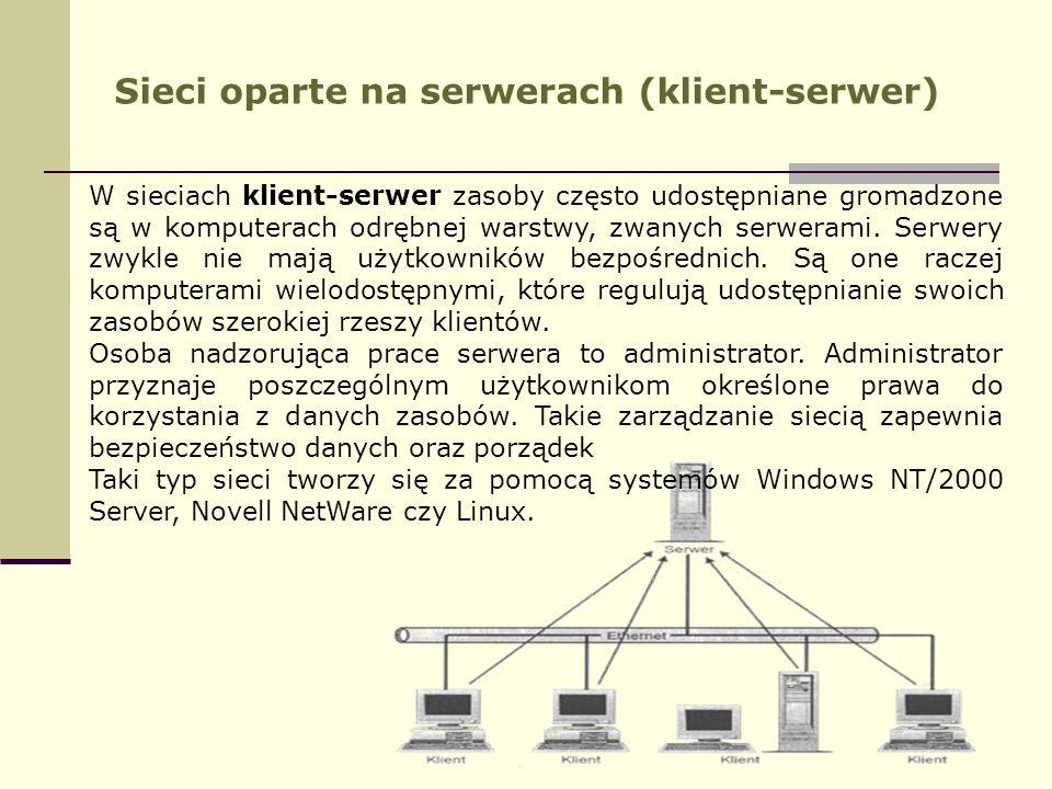 Sieci oparte na serwerach (klient-serwer) W sieciach klient-serwer zasoby często udostępniane gromadzone są w komputerach odrębnej warstwy, zwanych se