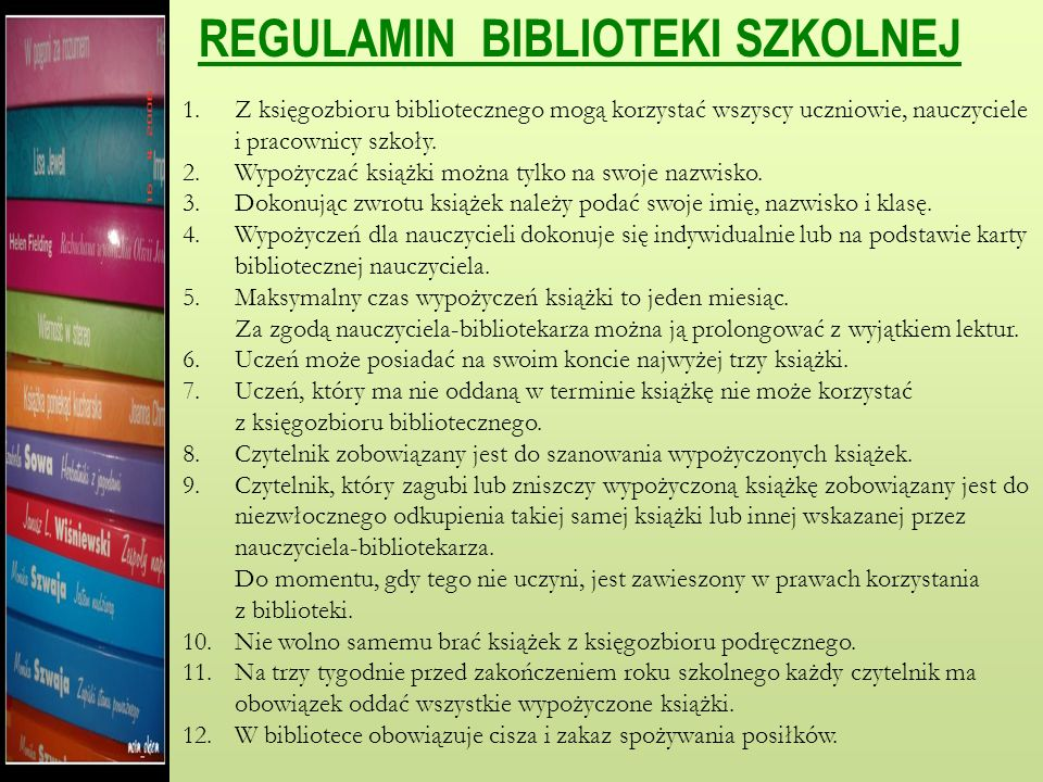 REGULAMIN CZYTELNI 1.Z księgozbioru biblioteki szkolnej mogą korzystać wszyscy uczniowie szkoły, nauczyciele oraz pracownicy. 2.W czytelni obowiązuje