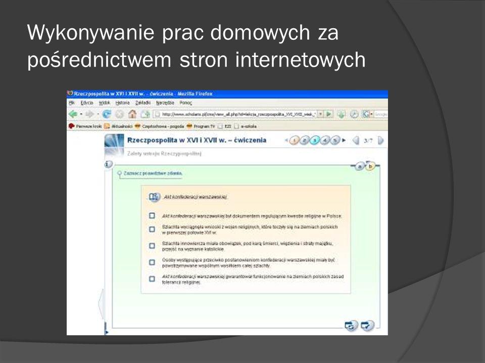 Wykonywanie prac domowych za pośrednictwem stron internetowych