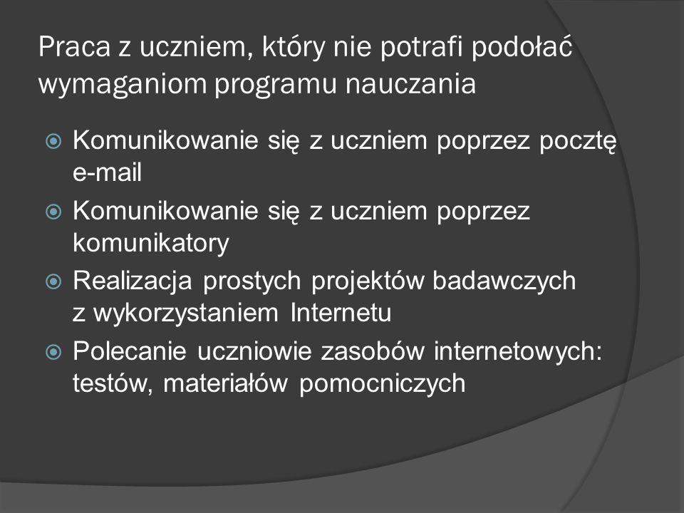 Praca z uczniem, który nie potrafi podołać wymaganiom programu nauczania Komunikowanie się z uczniem poprzez pocztę e-mail Komunikowanie się z uczniem