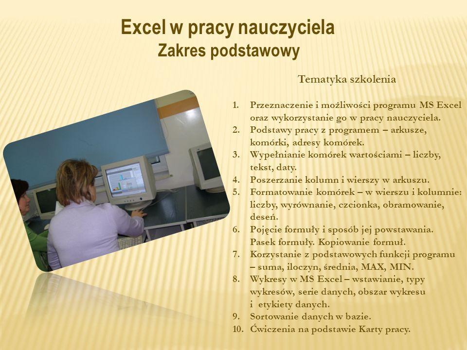 Excel w pracy nauczyciela Zakres podstawowy Tematyka szkolenia 1.Przeznaczenie i możliwości programu MS Excel oraz wykorzystanie go w pracy nauczyciela.