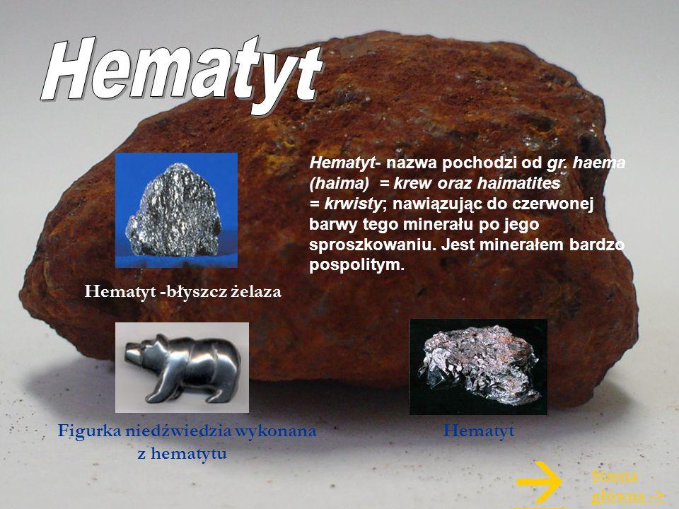 Hematyt- nazwa pochodzi od gr. haema (haima) = krew oraz haimatites = krwisty; nawiązując do czerwonej barwy tego minerału po jego sproszkowaniu. Jest