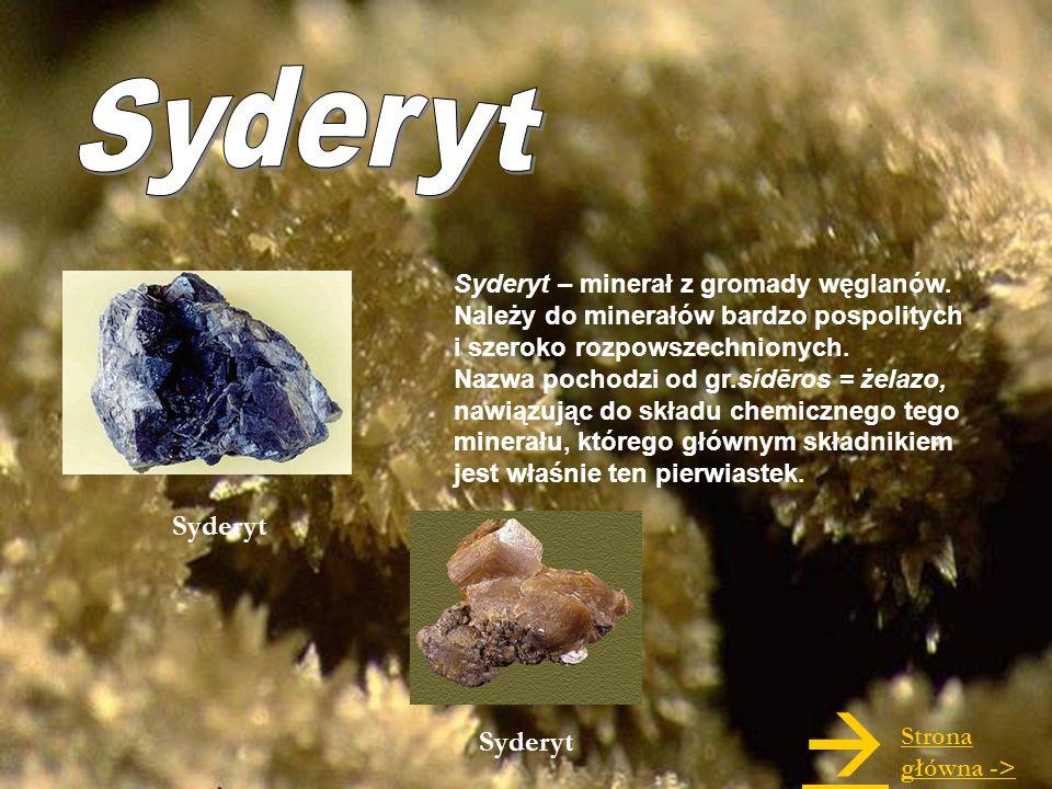 Syderyt – minerał z gromady węglanów. Należy do minerałów bardzo pospolitych i szeroko rozpowszechnionych. Nazwa pochodzi od gr.sídēros = żelazo, nawi