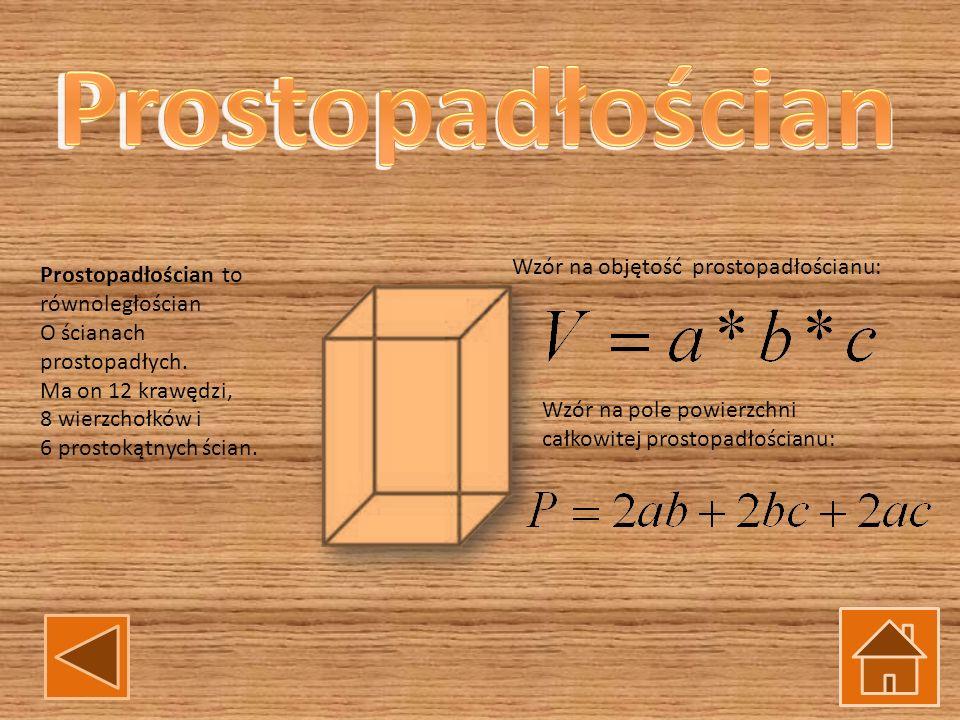 Prostopadłościan to równoległościan O ścianach prostopadłych. Ma on 12 krawędzi, 8 wierzchołków i 6 prostokątnych ścian. Wzór na objętość prostopadłoś