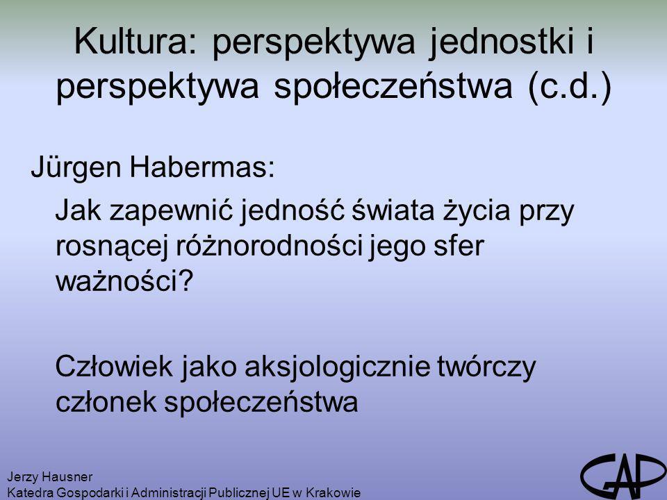 Jerzy Hausner Katedra Gospodarki i Administracji Publicznej UE w Krakowie Kultura: perspektywa jednostki i perspektywa społeczeństwa (c.d.) Jürgen Hab