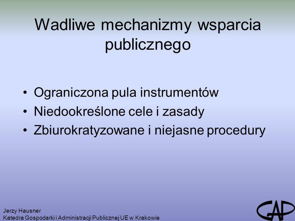 Jerzy Hausner Katedra Gospodarki i Administracji Publicznej UE w Krakowie Wadliwe mechanizmy wsparcia publicznego Ograniczona pula instrumentów Niedoo
