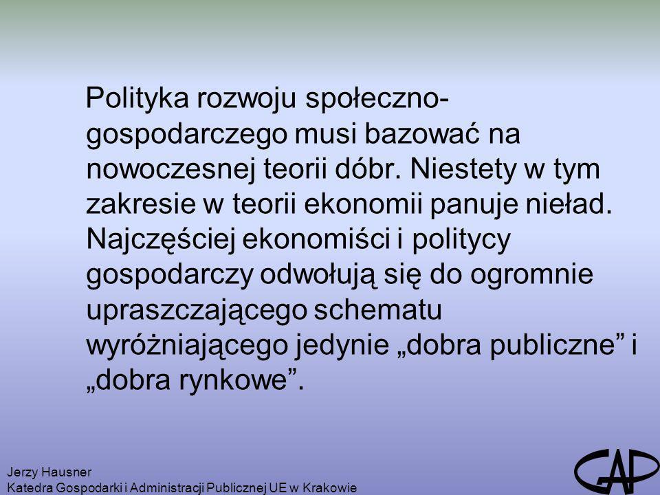 Jerzy Hausner Katedra Gospodarki i Administracji Publicznej UE w Krakowie Typologia dóbr Źródło: Surdej (2006: 53).