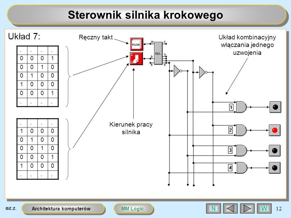 MM LogicArchitektura komputerów 12 WN Sterownik silnika krokowego Układ 7:.... 0001 0010 0100 1000 0001........ 1000 0100 0010 0001 1000.... Kierunek